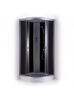 Slēgtā dušas kabīne GOTLAND 80x80x215cm, seklais paliktnis (15cm, priekšējie stikli peleki, aizmugure melna